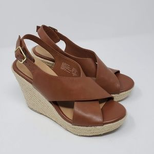 American Eagle Espadrille Sandals Size 6 Brown